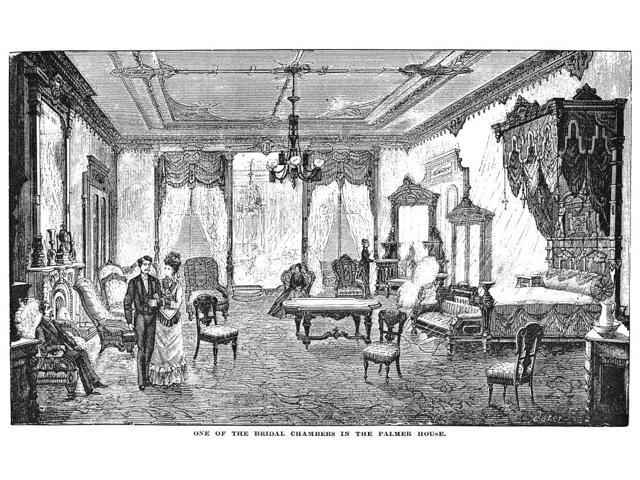 Palmer House Hotel 1878 Na Bridal Suite In The Palmer House Hotel Chicago Illinois Wood Engraving 1878 Poster Print by  (18 x 24)