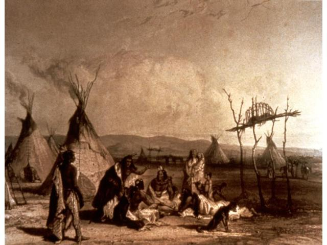 Bodmer Sioux Funeral Nfuneral Scaffold Of Sioux Chief Near Fort Pierre Engraving 1840 After Karl Bodmer Poster Print by  (18 x 24)