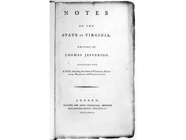 Jefferson Title Page 1787 Ntitle Page Of A 1787 English Edition Of Notes On The State Of Virginia Written By Thomas Jefferson In 1782 Poster Print by  (18 x 24)