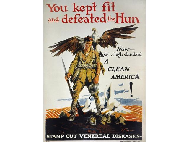 World War I Vd Poster NYou Kept Fit And Defeated The Hun American World War I Anti-Venereal Disease Poster C1919 By Ernest Fuhr Poster Print by  (18 x 24)