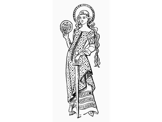 Saint Catherine Of Siena Npatron Saint Of Italy Wood Engraving Poster Print by  (18 x 24)