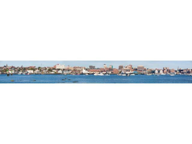 Panoramic view of Portland Harbor boats with south Portland skyline Portland Maine Poster Print (8 x 10)