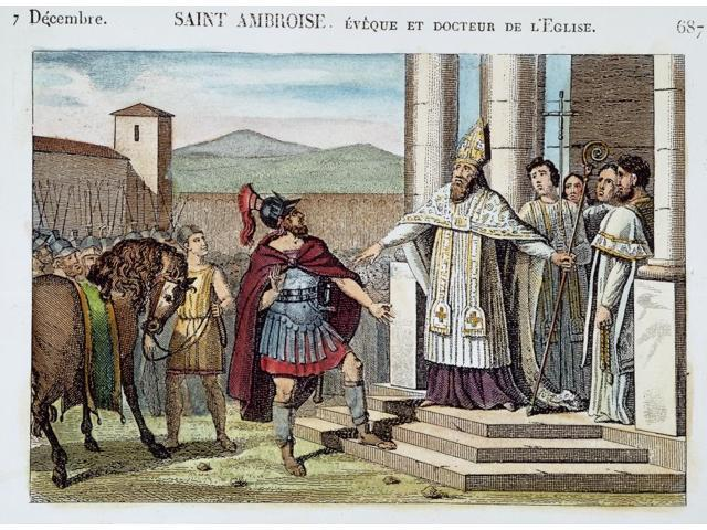 Saint Ambrose (C340-397) Nearly Chruch Father Saint Ambrose Refusing To Admit The Roman Emperor Theodosius I Into The Milan Cathedral 390 AD On Account Of The Massacre The Emperor Ordered At Thessloni