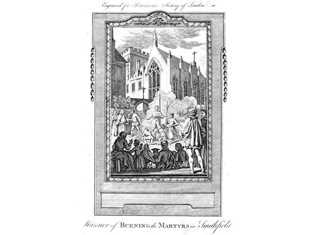 Foxe Book Of Martyrs Nthe Burning Of Protestant Martyrs In Smithfield Market London England Line Engraving From A Late 18Th Century English Edition Of John FoxeS The Book Of Martyrs First Published In