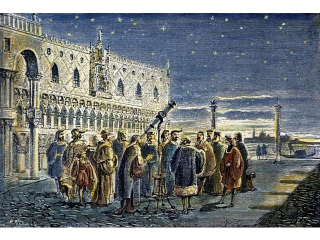 Galileo Galilei (1564-1642) Ngalileo Demonstrating His Telescopic Discovery Of The Satellites Of Jupiter To The Doge And Councillors Of Venice On 25 August 1609 Colored French Engraving 19Th Century P