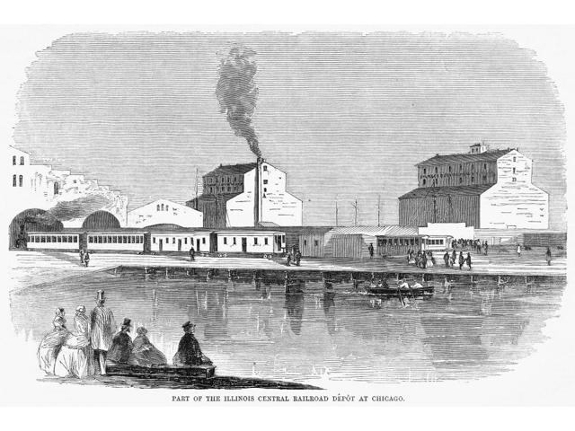 Chicago Railroad 1859 Nthe Illinois Central Railroad Depot In Chicago Illinois Wood Engraving American 1859 Poster Print by  (18 x 24)