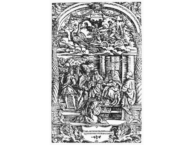 Children Of Planet Jupiter Nallegorical Representation Of The Life Of The Children Of The Planet Jupiter Line Engraving 1533 By Gabriele Giolito De Ferrari Poster Print by  (18 x 24)
