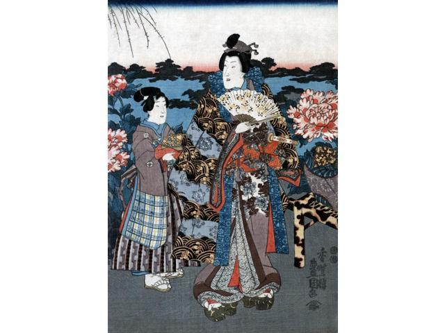 Japan Woman In Garden Na Woman Of The Upper Class Enjoying A Garden With Giant Peonies Outside A Villa In Japan Woodblock Print By Utagawa Kunisada Ii C1850 Poster Print by  (18 x 24)