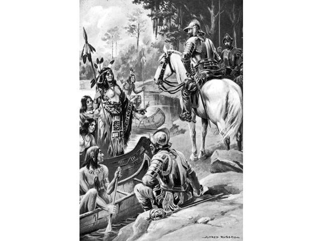 De Soto Cofitachequi 1540 Nthe Queen Of The Cofitachequi Native Americans Greets Hernando De Soto And Members Of His Expedition During Their Journey Through Present-Day South Carolina May 1540 Illustr