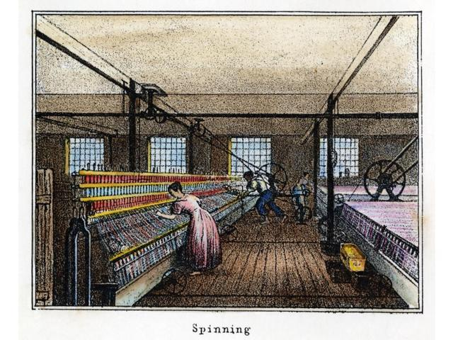 Textile Manufacture C1836 Nmule Spinning Interior View Of A New England Cotton Manufactures Mill Lithograph C1836 Poster Print by  (18 x 24)