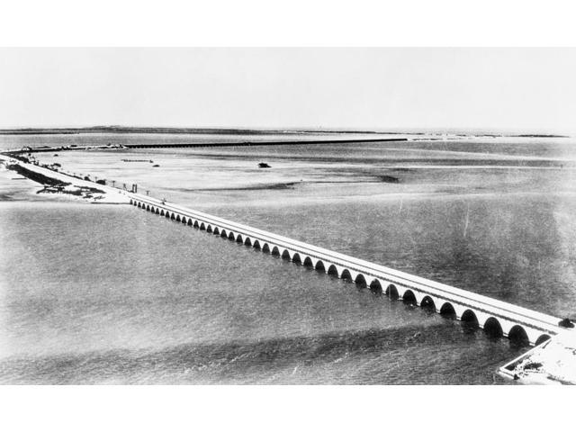 Florida Overseas Bridge Noverseas Highway Linking Miami To Key West Florida Built As A Public Works Administration Project Photograph 1939 Poster Print by  (18 x 24)