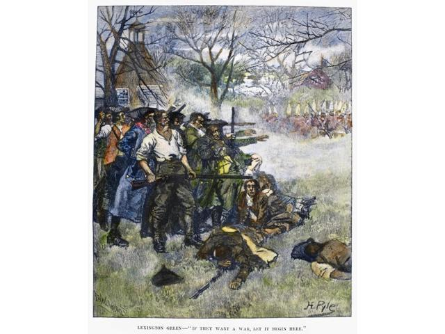 Battle Of Lexington 1775 Ncolonial Minutemen Confront British Troops On Lexington Green At The Start Of The American Revolution 19 April 1775 Wood Engraving American 1883 After Howard Pyle Poster Prin