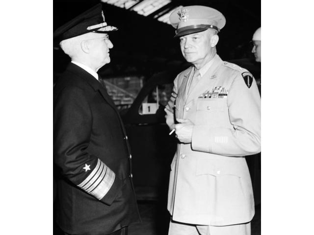 Dwight D Eisenhower N(1890-1969) 34Th President Of The United States General Dwight D Eisenhower (Right) And Admiral Harold Stark Awaiting President Truman En Route To The Big Three Meeting In Potsdam