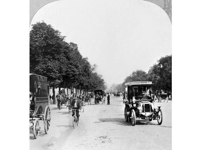 Paris Champs Elysees Na View Of The Avenue Des Champs Elysees Looking Toward Place De La Concorde With Cars Horse-Drawn Carriages Bicyclists And Pedestrians On The Street Photographed By Carleton H Gr