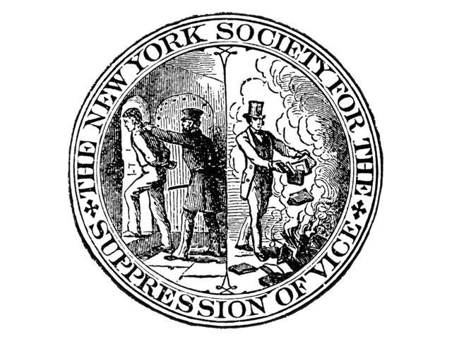Censorship Seal 1873 Nthe Seal Of The New York Society For The Suppression Of Vice Founded In 1873 On The Left The Purveyor Of Obscenity Is Being Thrust Into A Cell While On The Right A Christian Laym