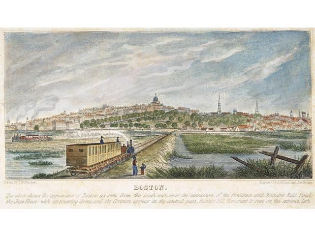 Boston Mass 1839 Nview Of The City Of Boston From The Southwest With The Massachusetts State House At Center American Aquatint Engraving 1839 Poster Print by  (18 x 24)