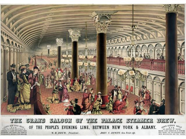 Steamship Saloon C1878 Ninterior Of The Grand Ballroom On Board The Palace Steamer Ship Drew With Passengers In The Main Floor Area Of The Salon And On The Mezzanine Lithograph By Currier And Ives C18