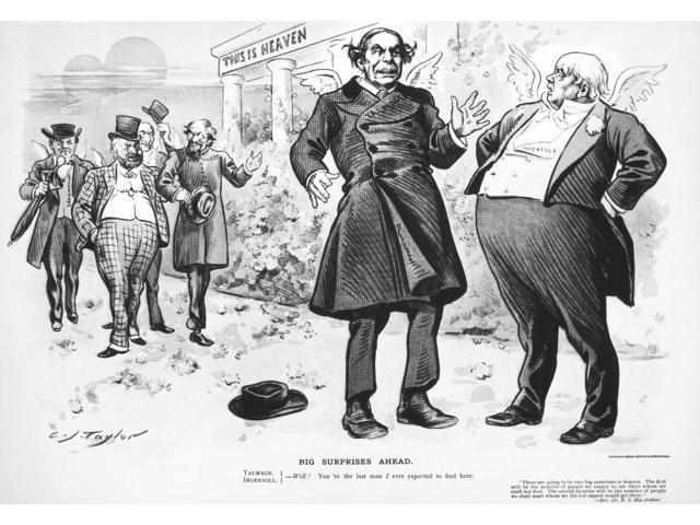 Talmadge & Ingersoll 1898 NBig Surprises Ahead American Lithograph Cartoon Featuring Thomas De Witt Talmadge And Robert Green Ingersoll By C Jay Taylor 1898 Poster Print by  (18 x 24)