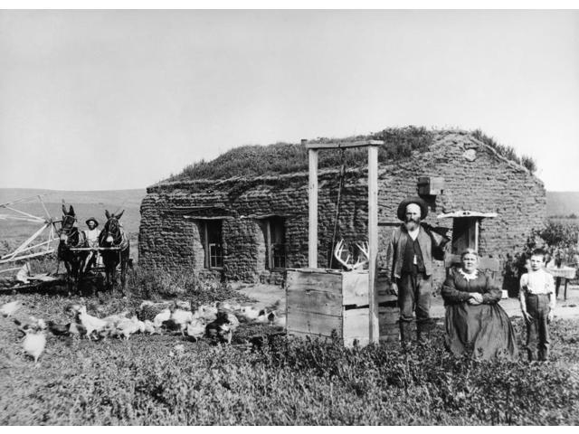 Nebraska Settlers 1888 Nhomesteader James Mccrea And Family In Front Of Their Sod House Dugout Near Berwyn Custer County Nebraska Photograph By Solomon D Butcher 1888 Poster Print by  (18 x 24)