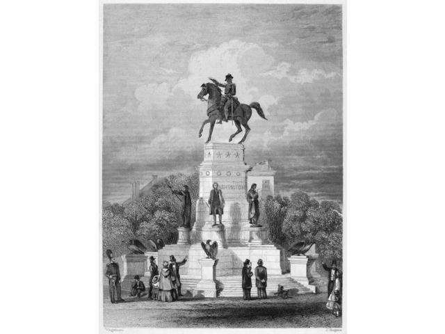 George Washington N(1732-1799) First President Of The United States Washington Monument At Richmond Virginia Steel Engraving 19Th Century Poster Print by  (18 x 24)