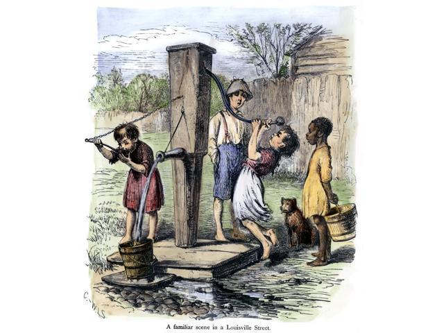 Water Pump C1880 Nchildren Drinking From A Public Water Pump In Louisville Kentucky Colored Engraving American C1880 Poster Print by  (18 x 24)