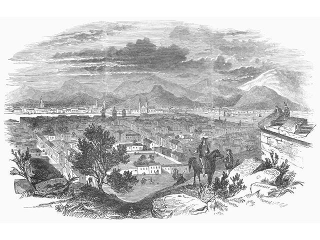Chile Santiago 1846 Nsantiago The Capital Of Chile On The Mapocho River The Andes Mountains Are In The Background Wood Engraving English 1846 Poster Print by  (18 x 24)