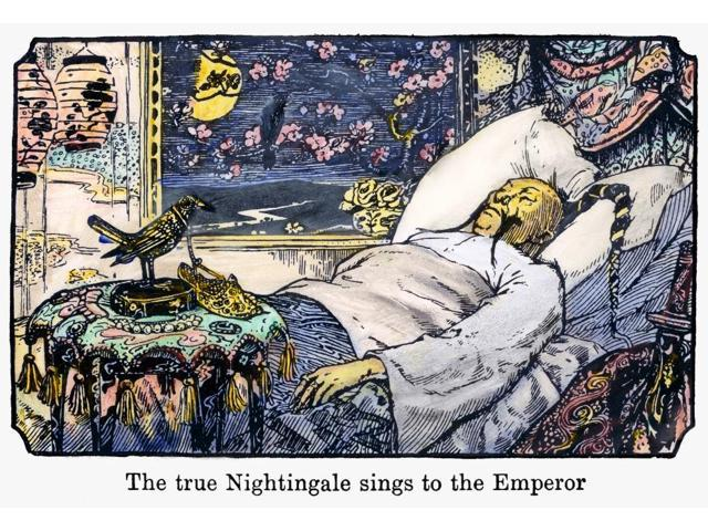 Andersen The Nightingale NThe True Nightingale Sings To The Emperor Drawing By Henry J Ford For An 1894 Edition Of The Fairy Tale The Nightingale By Hans Christian Andersen Poster Print by  (18 x 24)