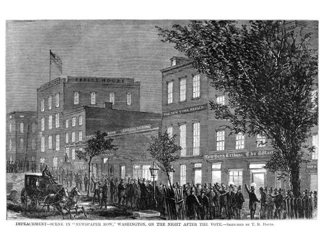 Johnson Impeachment 1868 Ncrowd Outside The Newspaper Offices In Washington DC After The Vote Deciding The Impeachment Of President Andrew Johnson May 1868 Contemporary American Wood Engraving Poster