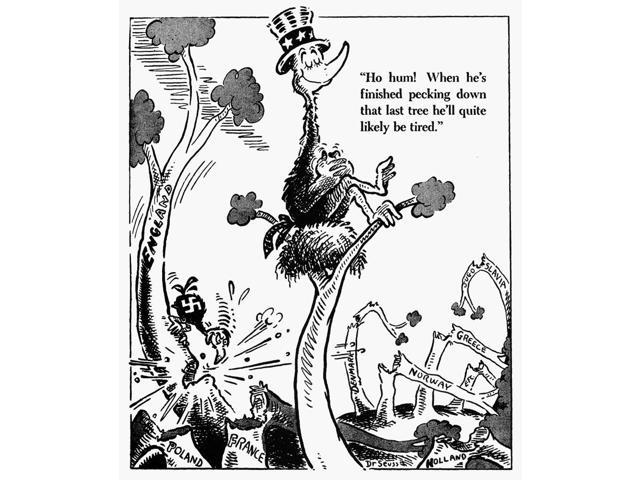 Cartoon World War Ii NHo Hum When HeS Finished Pecking Down That Last Tree HeLl Quite Likely Be Tired American Cartoon By Dr Seuss (Theodor Geisel) For Pm 22 May 1941 Critical Of American Isolationism