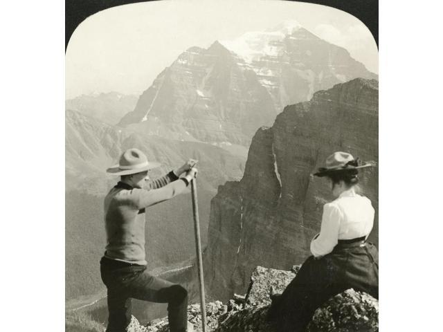 Canada Rocky Mountains Ntwo Climbers Looking At Mount Temple In The Rocky Mountains Alberta Canada Stereograph 1907 Poster Print by  (18 x 24)