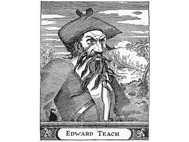 Edward Teach (D 1718) Nenglish Pirate Known As Blackbeard Line Engraving English 18Th Century Poster Print by  (18 x 24)