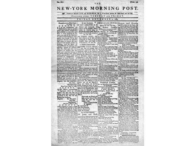 New York Morning Post Nfront Page Of The New York Morning Post 7 November 1783 Poster Print by  (18 x 24)
