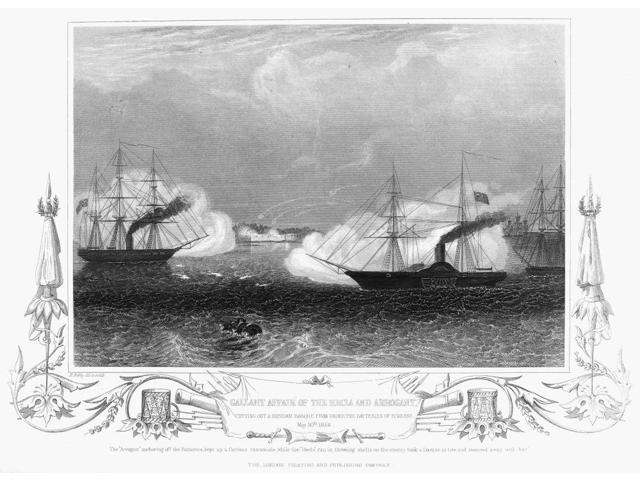 Crimean War Naval Battle Nthe British Warships Hecla And Arrogant Attacking A Russian Barque 20 May 1854 Wood Engraving From A Contemporary English Newspaper Poster Print by  (18 x 24)