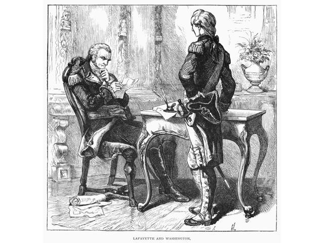 George Washington N(1732-1799) 1St President Of The United States Washington (Seated) With The Marquis De Lafayette During The American Revolutionary War C1778 Wood Engraving American 1887 Poster Prin