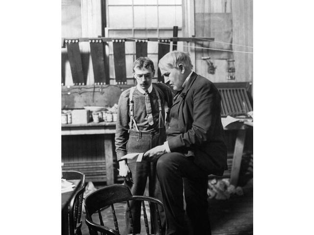 Thomas Edison (1847-1931) Namerican Inventor Photographed With His Assistant In His Laboratory West Orange New Jersey C1906 Poster Print by  (18 x 24)