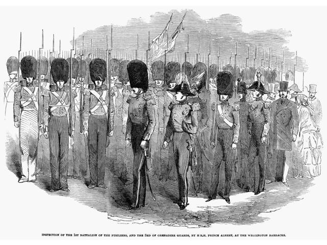 Britain Fusiliers 1854 Ninspection Of The 1St Battalion Of The Fusiliers And The 3Rd Of Grenadier Guards By Prince Albert Wood Engraving English 1854 Poster Print by  (18 x 24)
