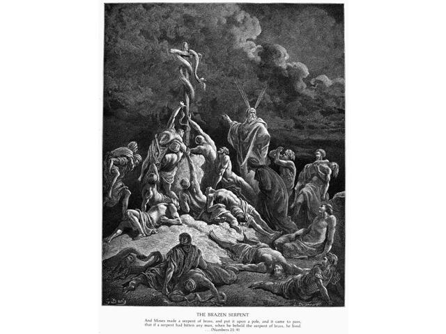 Brazen Serpent Nisraelites Bitten By Fiery Serpents Are Saved When They Look Upon The Brazen Image Of A Serpent Set Up On A Pole By Moses (Numbers 21 6-9) Wood Engraving 19Th Century After Gustave Dor