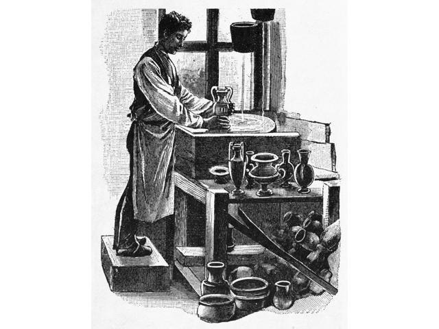Glassworker 19Th Century Na Glass Worker Making Vases Wood Engraving 19Th Century Poster Print by  (18 x 24)