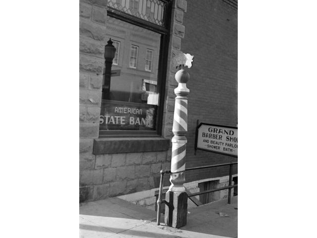 North Dakota Barber Shop Nstriped Pole Outside Of A Barber Shop In Williston North Dakota Photograph By Russell Lee November 1937 Poster Print by  (18 x 24)