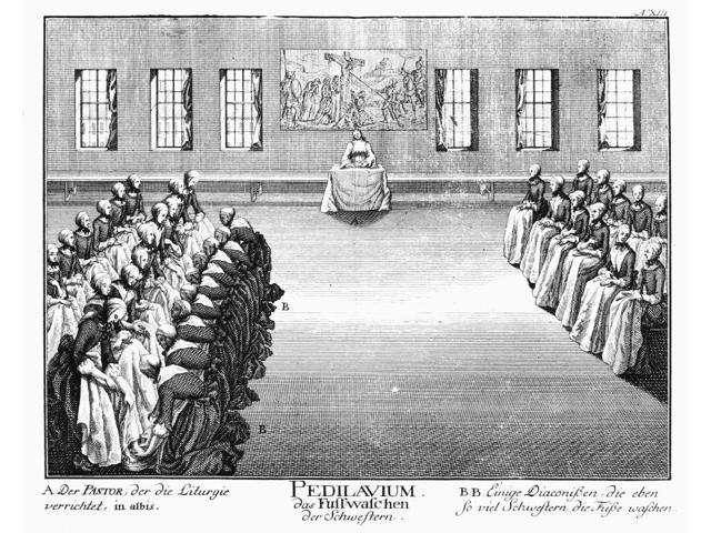 Moravians 1757 Nritual Foot Washing By Moravian Women Line Engraving German 1757 Poster Print by  (18 x 24)