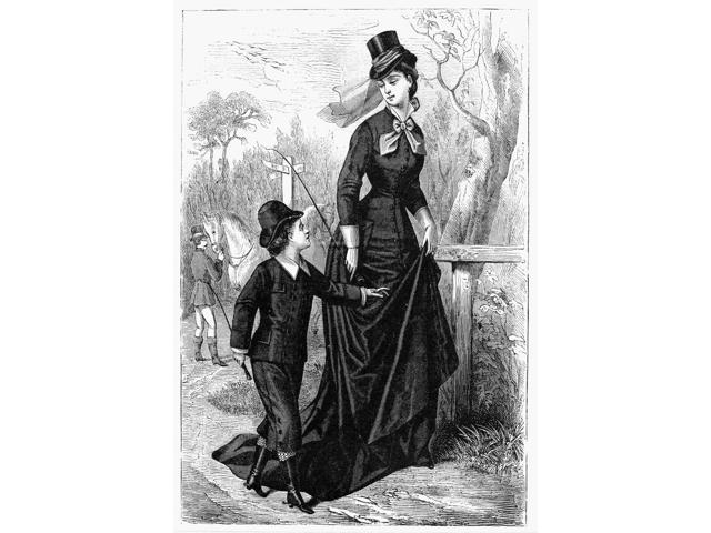 WomenS Fashion 1876 Nriding Habit Wood Engraving American 1876 Poster Print by  (18 x 24)