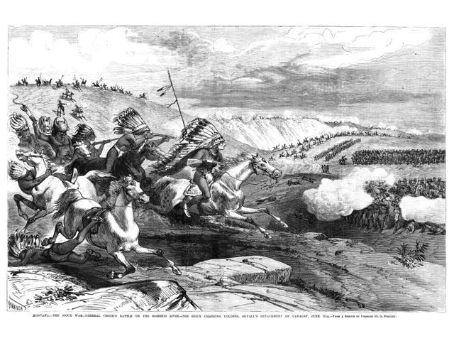 Great Sioux War 1876 Nsioux Warriors Charging Colonel William RoyallS Cavalry At The Battle Of Rosebud Creek During The Great Sioux War 17 June 1876 Contemporary Engraving After A Sketch By Charles St