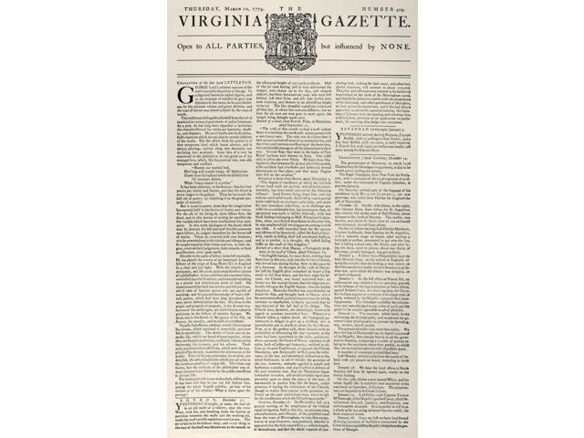 Virginia Gazette 1774 Nfront Page Of The Virginia Gazette 10 March 1774 With The Slogan Open To All Parties But Influence By None Poster Print by  (18 x 24)