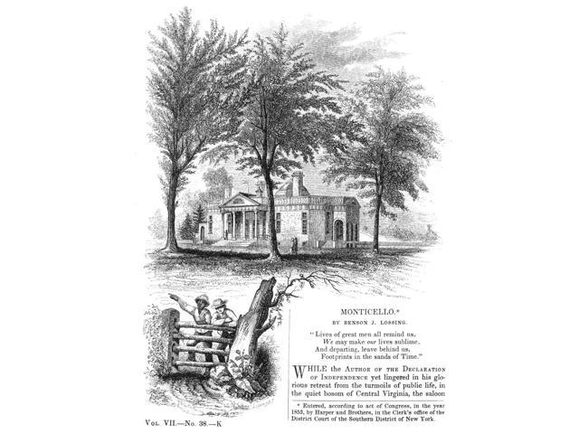 Jefferson Monticello Nmonticello The Home Of Thomas Jefferson Near Charlottesville Virginia Wood Engraving 1853 Poster Print by  (18 x 24)