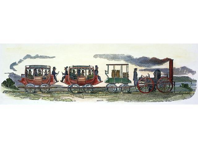 New York Railroad 1831 Nthe First Locomotive To Run On The Mohawk Valley Railroad September 1831 Wood Engraving American 19Th Century Poster Print by  (18 x 24)
