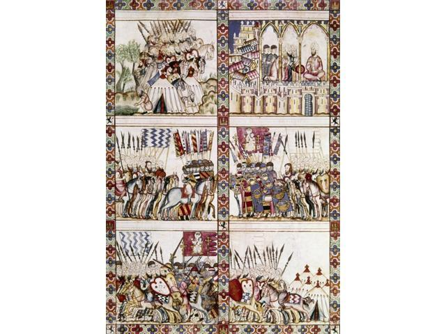 Spain Reconquest C1275 Nscenes Of Combat Between Christians And Muslims In Spain During The Reconquista Manuscript Illumination Late 13Th Century From The Cantigas De Alfonso X Poster Print by  (18 x
