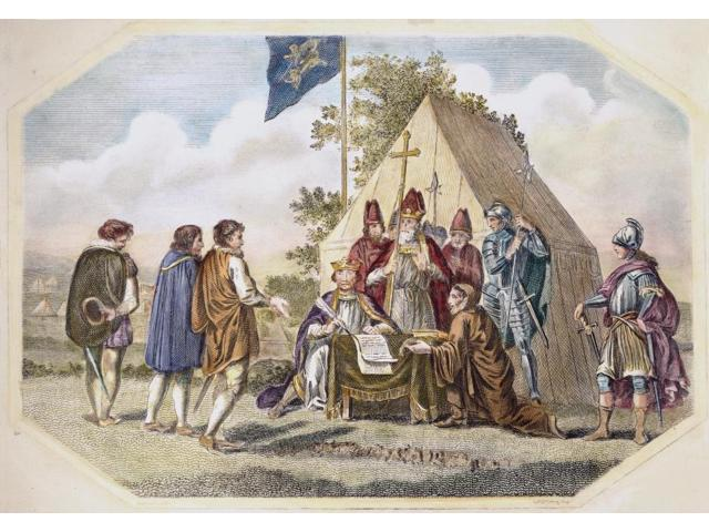 King John Magna Carta Nking John Of England Signing The Magna Carta At Runnymede 15 June 1215 Line Engraving 18Th Century Poster Print by  (18 x 24)