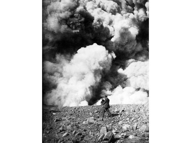 Photographer C1908 Nman With Large Camera Photographing A Possible Volcano Eruption Stereograph C1908 Poster Print by  (18 x 24)