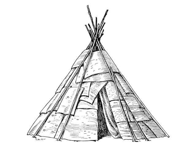 Native American Wigwam Nthe Conical Wigwam Of The Ojibwa Native Americans Consisting Of A Framework Of Poles Covered With Sheets Of Birch Bark Drawing By CW Jefferys Poster Print by  (18 x 24)