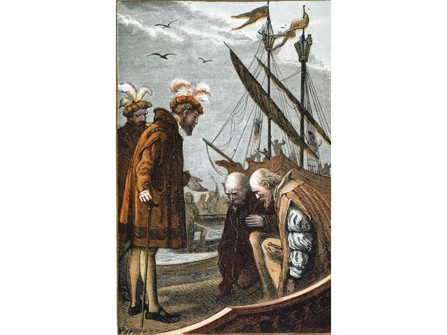 Vasco Da GamaNtaking Leave From King Manuel Of Portugal At His Departure From Lisbon For India On July 8 1497 Colored Engraving 19Th Century Poster Print by  (18 x 24)